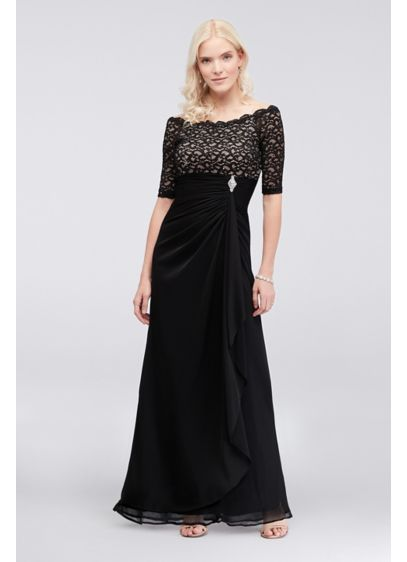Off-the-Shoulder Dress with Ruched Cascade Skirt - A new twist on the classic sheath dress,