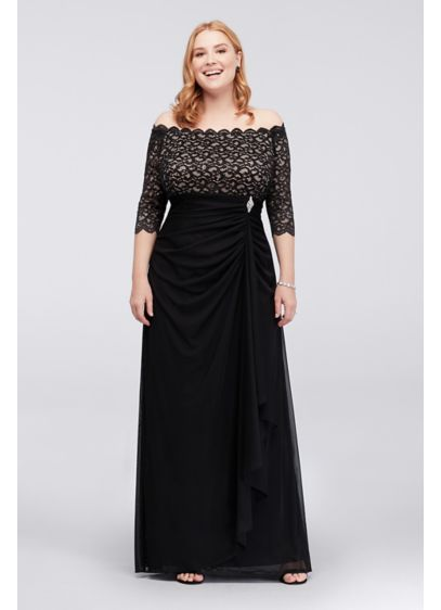 Off-the-Shoulder Plus Size Dress with Cascade