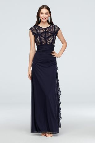 1bfd196f75 Long Sheath Cap Sleeves Cocktail and Party Dress - Betsy and Adam. Save