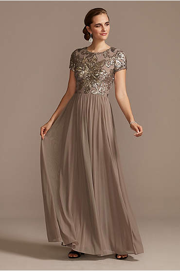 A-Line Dress with Floral Sequin Bodice