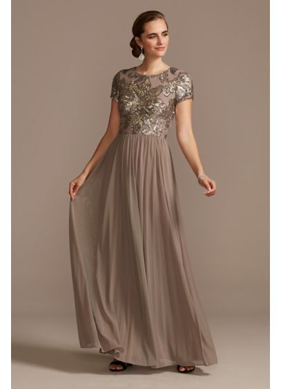 A-Line Dress with Floral Sequin Bodice - This soft A-line dress has dramatic floral embellishment