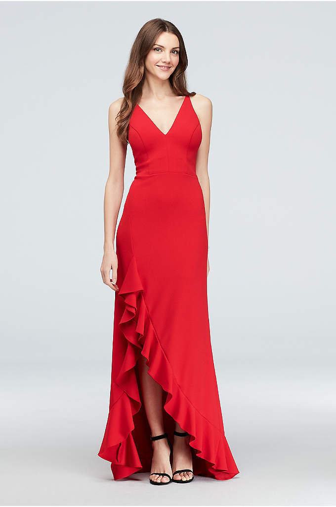 Plunging Scuba Crepe Gown with Ruffled Skirt - Channel everyone's favorite dancing lady emoji in this