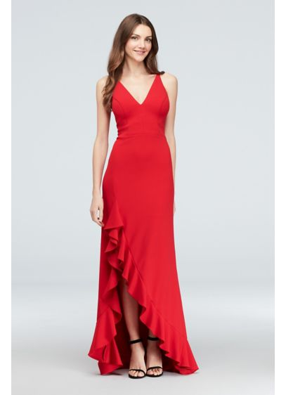 cb7a3657 Plunging Scuba Crepe Gown with Ruffled Skirt. A21249. Long A-Line Spaghetti  Strap Dress - Betsy and Adam