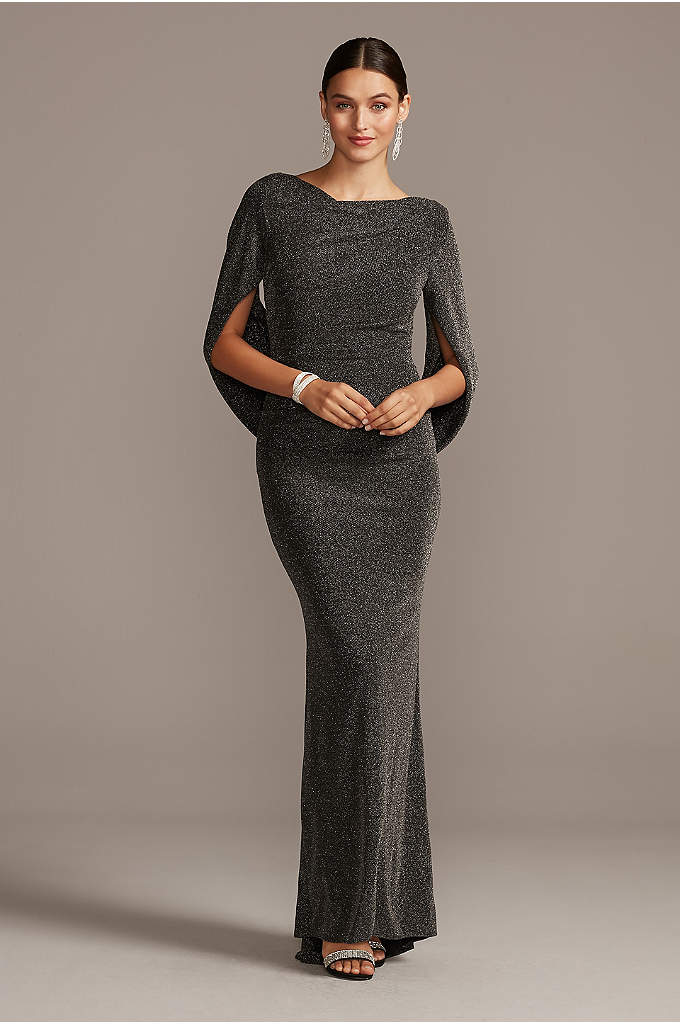 Glitter Accent Drape Sleeve Stretch Sheath Dress