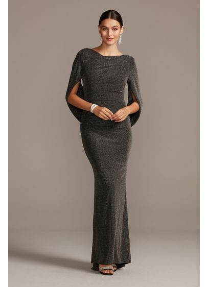 Glitter Accent Drape Sleeve Stretch Sheath Dress - The perfect dress for the dancing queen. You'll