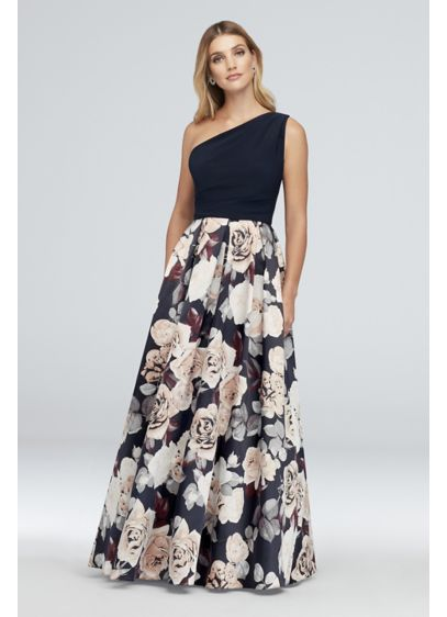 Printed Satin and Jersey One-Shoulder Ball Gown - A jersey and satin ball gown, perfect for