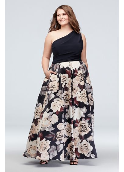 Printed Satin One-Shoulder Plus-Size Ball Gown - A jersey and satin plus size ball gown,