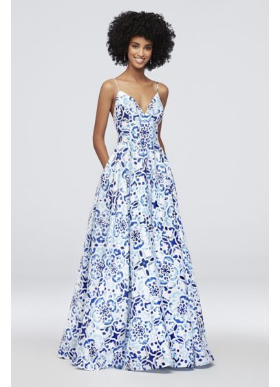 Mosaic Print Deep V-Neck Ball Gown with Low - A bohemian mosaic print adds free-spirited charm to