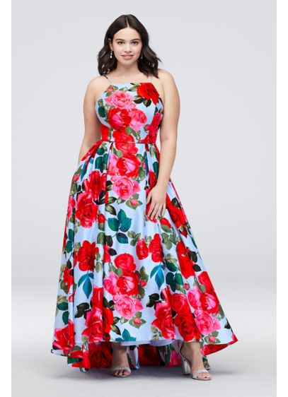 Pleated Lace-Up Floral-Printed Plus Size Ball Gown | David\'s Bridal