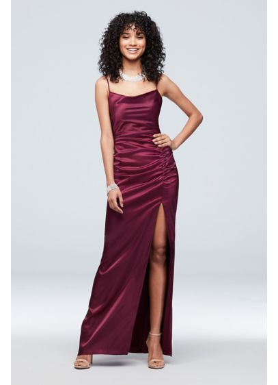 Ruched Low-Back Satin Cowlneck Sheath Dress - Turn heads in this slinky satin sheath, detailed