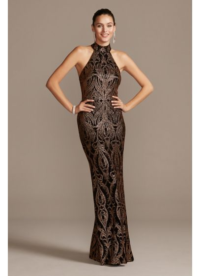 Slinky Glitter Print T-Back Gown - A glittery damask pattern pops against this slinky