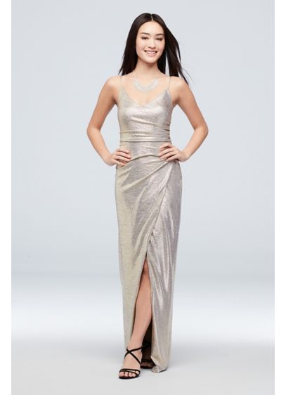 Ruched Metallic Knit Sheath Dress with Slit - Get glowing in this body-hugging metallic knit sheath