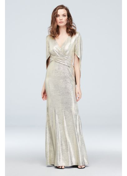 Metallic Accent Drape Sleeve Stretch Wrap Sheath - This eye catching shimmering sheath perfect for both