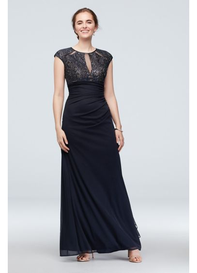 Lace Bodice Keyhole Gown with Mesh Ruched Cascade - Radiate lavish elegance in this cap sleeve gown