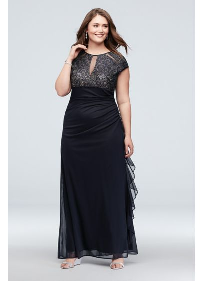 Lace Keyhole Plus Size Gown with Ruched Cascade - Radiate lavish elegance in this cap sleeve plus-size