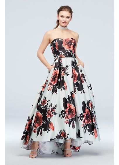 Strapless Floral Satin Ball Gown with High-Low Hem - An oh-so pretty floral print adorns this strapless