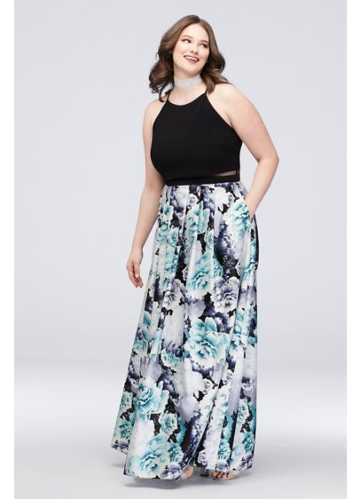 Crop Illusion High-Neck Floral Plus Size Gown - Dare to be different in this fun and