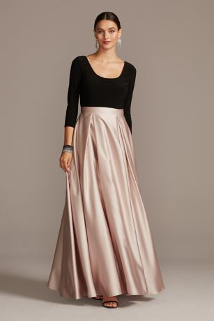 Long Ballgown 3/4 Sleeves Dress - Betsy and Adam