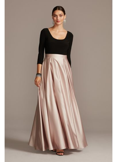 Scoop Bodice 3/4 Sleeve Gown with Satin Skirt - Classic and oh-so elegant, this polished ball gown