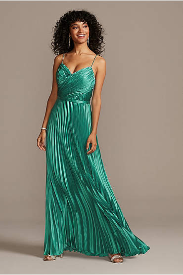 Accordion Pleat Satin A-Line Dress