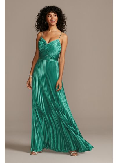 Accordion Pleat Satin A-Line Dress - A sleek satin charmeuse spaghetti strap gown gets