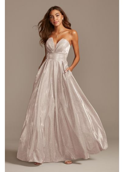 Glittery Strapless Ball Gown with Illusion Plunge - Shimmering glitter, soft pleats, and convenient side pockets