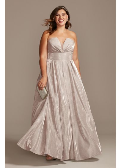 Glitter Strapless Plus Size Gown with Plunge - Shimmering glitter, soft pleats, and convenient side pockets