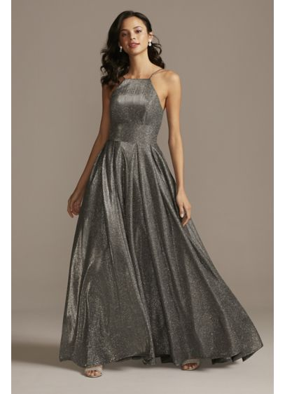 High Neck Metallic Ball Gown with High Low - You'll absolutely dazzle in this elegant, metallic ball