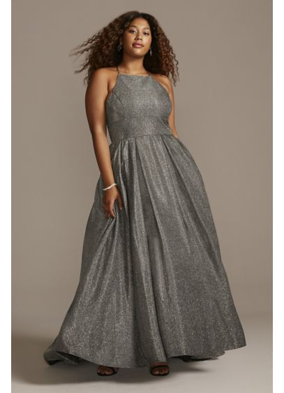 High Neck Metallic Plus Size High Low Hem - You'll absolutely dazzle in this elegant, glitter knit