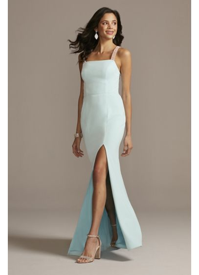 Crystal Crossed Straps Dress with Cowl Back - This show-stopping stretch-crepe gown features brilliantly shining crystal