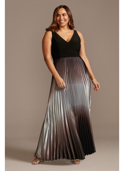 Accordion Pleated Ombre Satin Plus Size Dress - You'll simply stun in this elegant, plunging-V plus-size