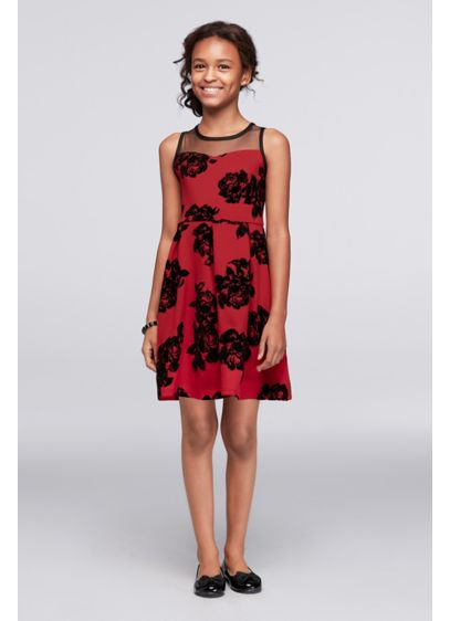 Short Red Soft & Flowy Poppies and Roses Bridesmaid Dress