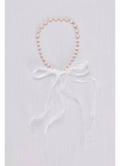 David's Bridal Pink (Solitaire Halo Cubic Zirconia Tie Back Headband)