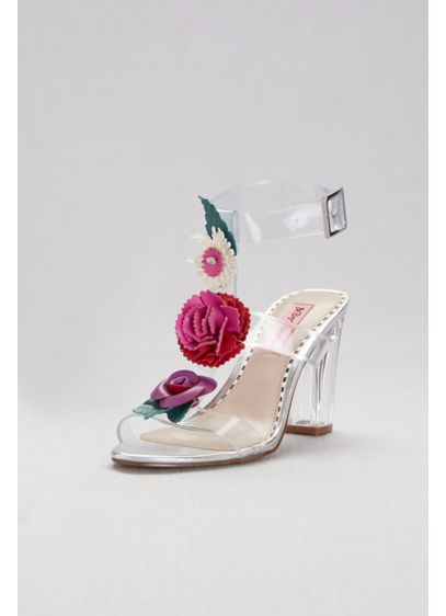 Pink by Betsey Johnson Multi (Clear Strappy Sandals with Colorful Floral Detail)