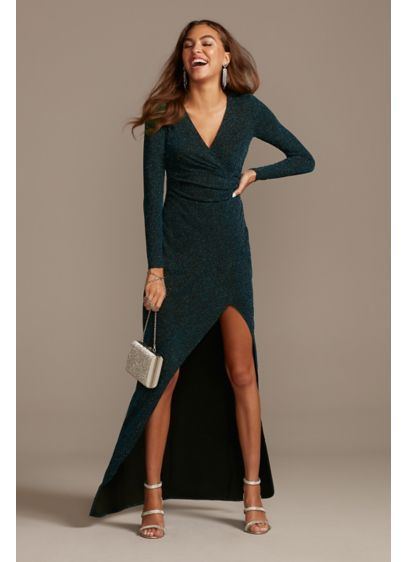 Glitter Knit Long Sleeve V-Neck Dress with Ruching - A V-neckline wraps into figure-flattering ruching at the