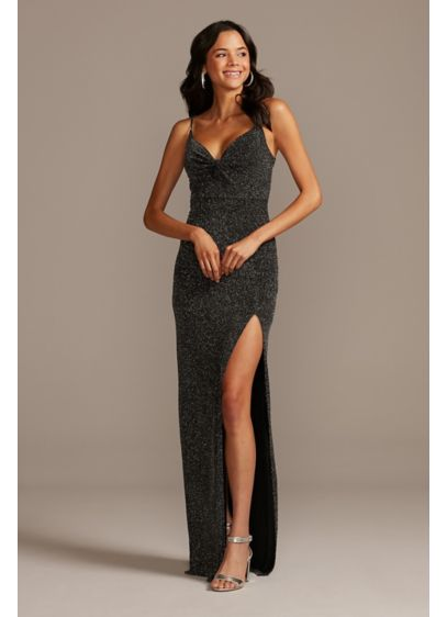 Glitter Knit Bodice Twist Spaghetti Strap Gown - Make an entrance in this flirty spaghetti-strap sheath,