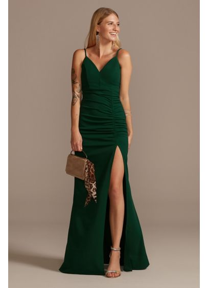 Long Sheath Spaghetti Strap Cocktail and Party Dress - Emerald Sundae