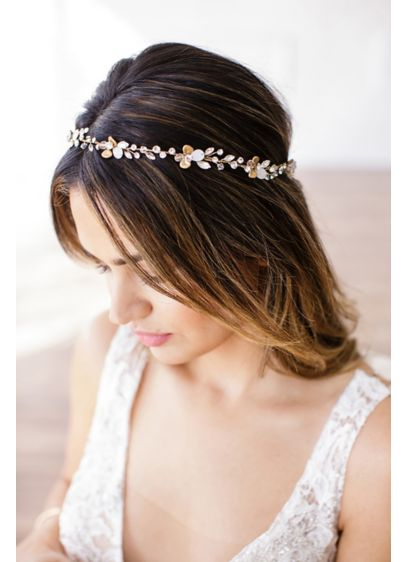 14k Gold and Crystal Petals Halo Headband - 14k gold flowers and hand-wired crystal droplets twine
