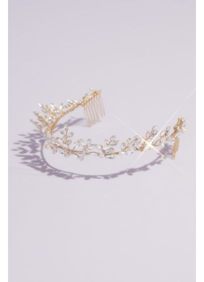 Freshwater Pearl and Swarovski Crystal Vine Tiara - Hand-wired freshwater pearls and Swarovski crystals gleam from