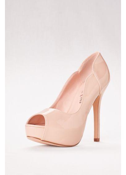 Blossom Beige (Carina Nude Patent Peep Toe Heel)