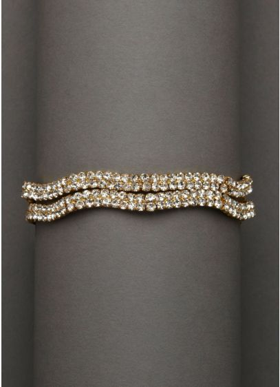Double Row Rhinestone Bracelet - Wedding Accessories