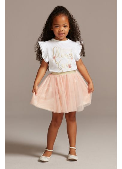 Little Miss Flower Girl T-Shirt and Tutu Skirt - The youngest member of the bridal party will