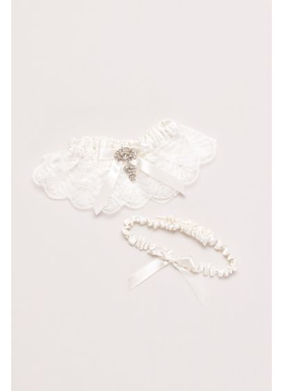 Ivory (Adjustable Jeweled Lace Garter Set)