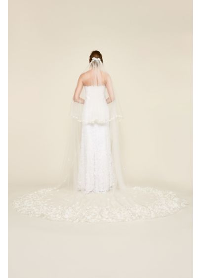Hailey Cathedral Veil - Cascading 3D floral embroidery blooms on a flowing