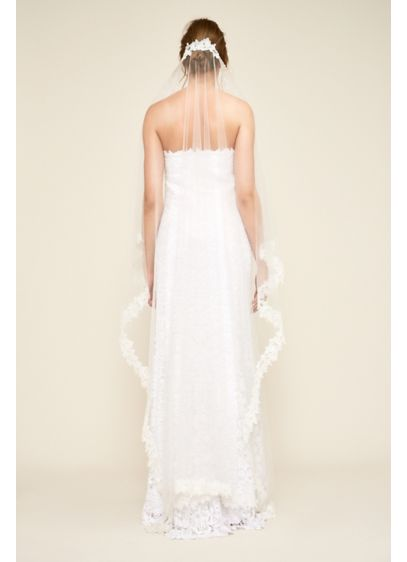 Mona Chapel Veil - Wide floral lace trims the angular edges of