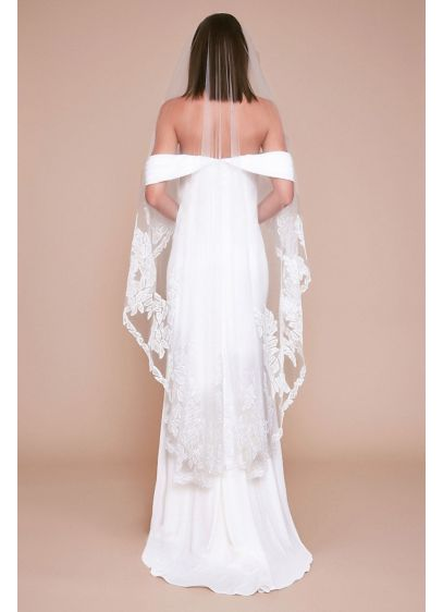 Rutter Leaf Embroidered Tulle Waltz Veil - Bold and graphic lacy leaf appliques give this
