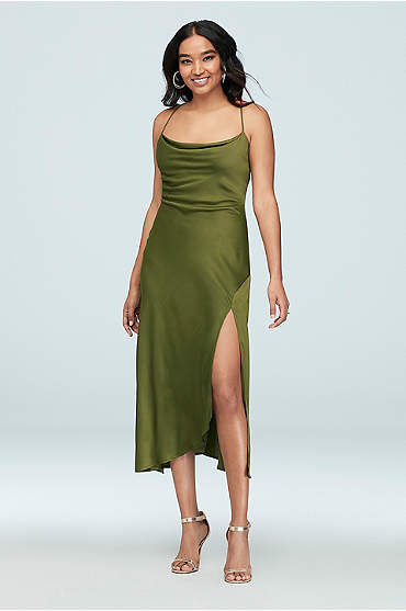 Spaghetti Strap Cowl Slip Dress with Slit
