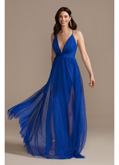 Tulle Dress with Plunge Neckline and Open Back - Classic, with a sexy twist. This tulle prom
