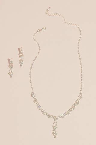 Set de Aretes y Collar de Cristales de Doble Gota