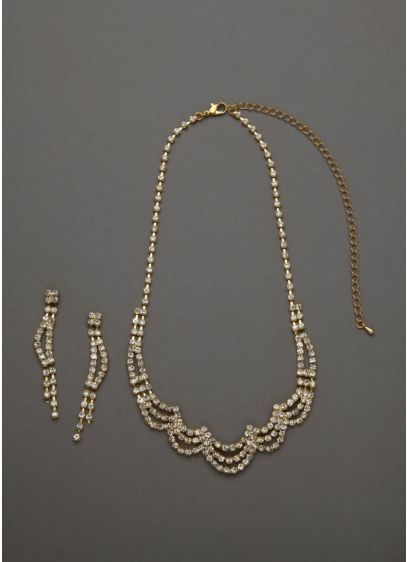 Scalloped Design Necklace and Earring Set - Wedding Accessories
